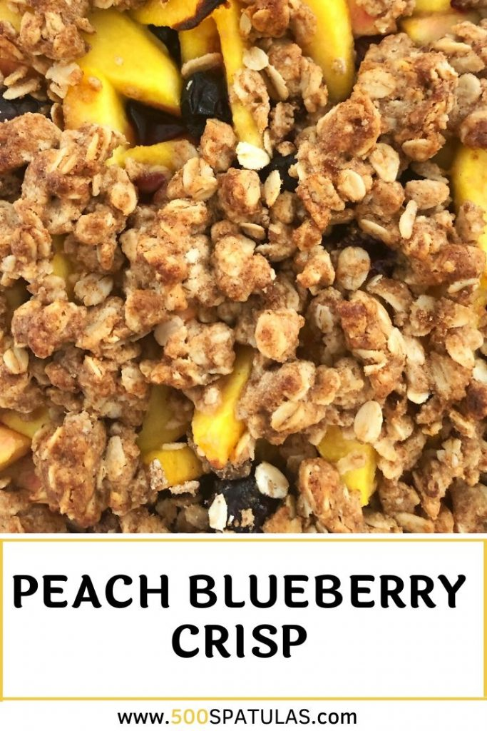 This Peach Blueberry Crisp recipe is a crowd-pleaser, freezes beautifully, and can easily be made dairy free and/or gluten free #500spatulas #summer #eggfree