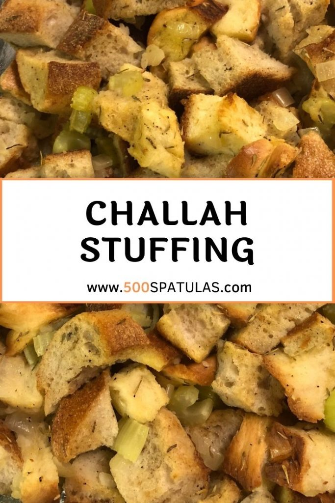 This Challah Stuffing recipe brings a delightful richness to your Thanksgiving table. Even better, no need to sauté the bread cubes, and you can make this ahead and freeze it! #500spatulas #thanksgiving #sidedish #stuffing