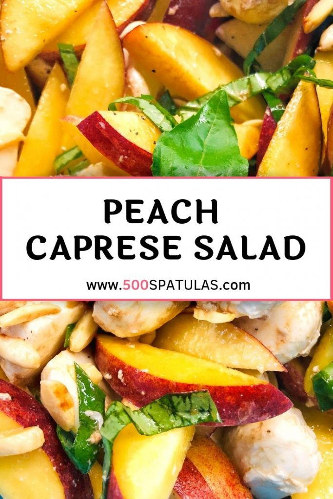 This refreshing Peach Caprese Salad is summer in a bowl! You can mix it up to take advantage of whatever ripe fruit you have. #500spatulas #summersalad