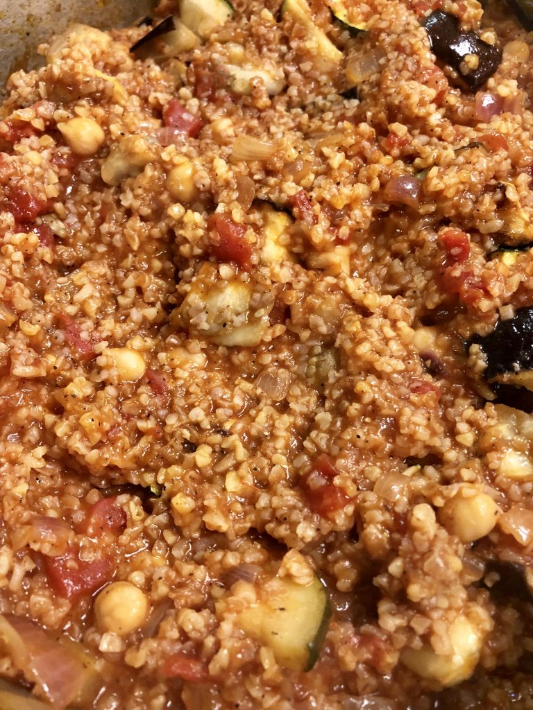 Red Bulgur with Eggplant & Chickpeas (Shulbato)