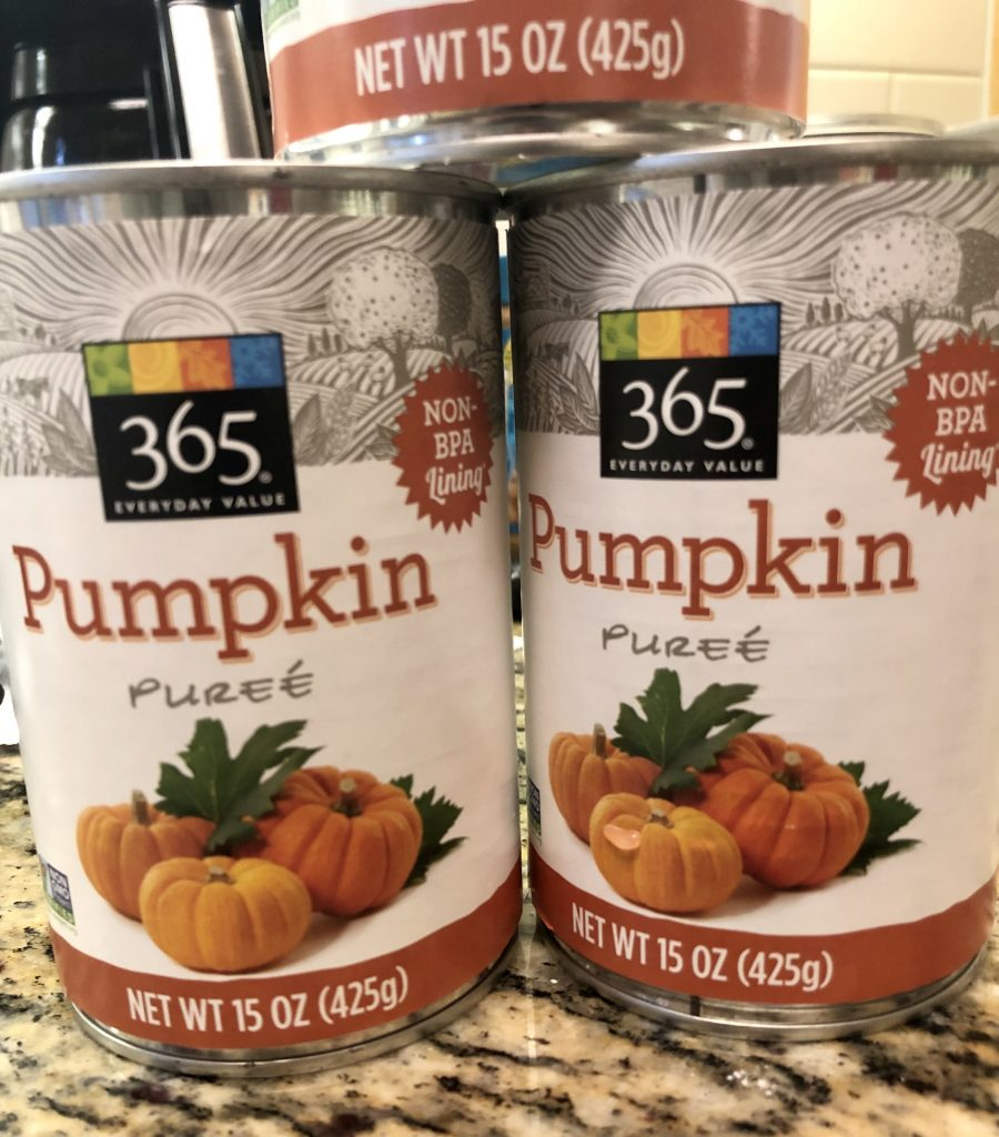 Cans of Pumpkin Puree for Fall Favorite Pumpkin Bread