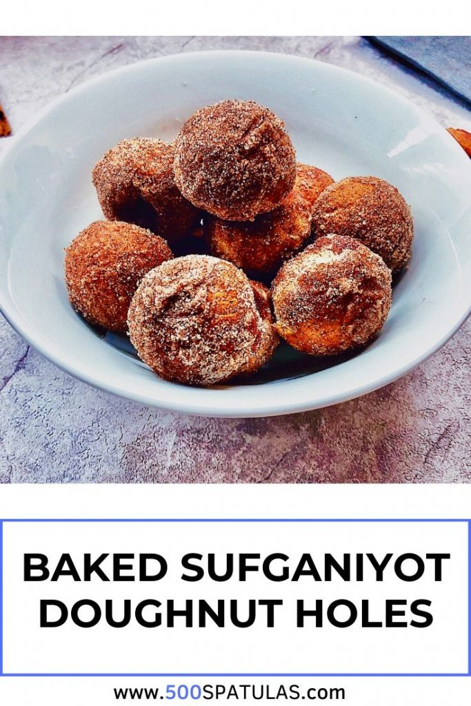 These Baked Sufganiyot Doughnut Holes are the perfect Chanukah treat! A delicious dessert without all the muss and fuss (and mess) of frying. #500spatulas #hanukkah