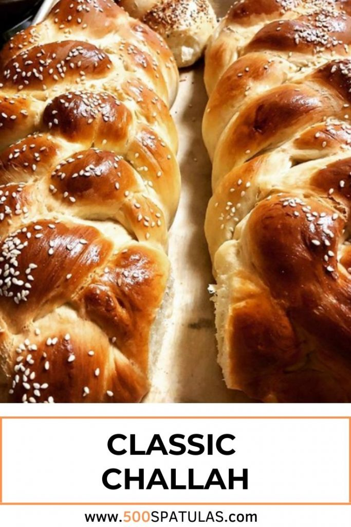 This Classic Challah recipe will quickly become your new go-to. Light and fluffy, and a short rise time! #500spatulas #breadbaking