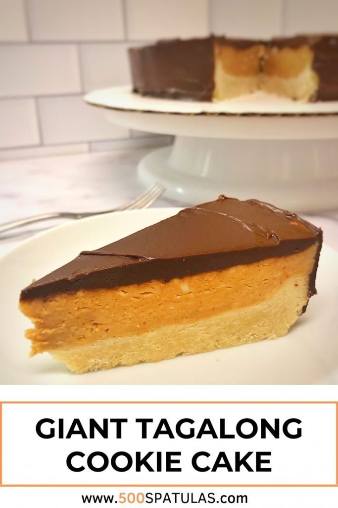 This Giant Tagalong Cookie Cake will make your year-round Girl Scout cookie dreams come true! Shortbread, peanut butter, and chocolate? OK! #500spatulas #girlscoutcookies