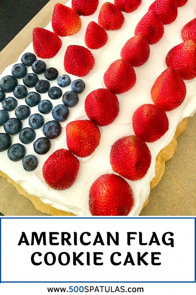 This American Flag Cookie Cake is light and delicious and a great way to get the kids involved in your July 4th celebration prep! #500spatulas #july4th #cookiecake