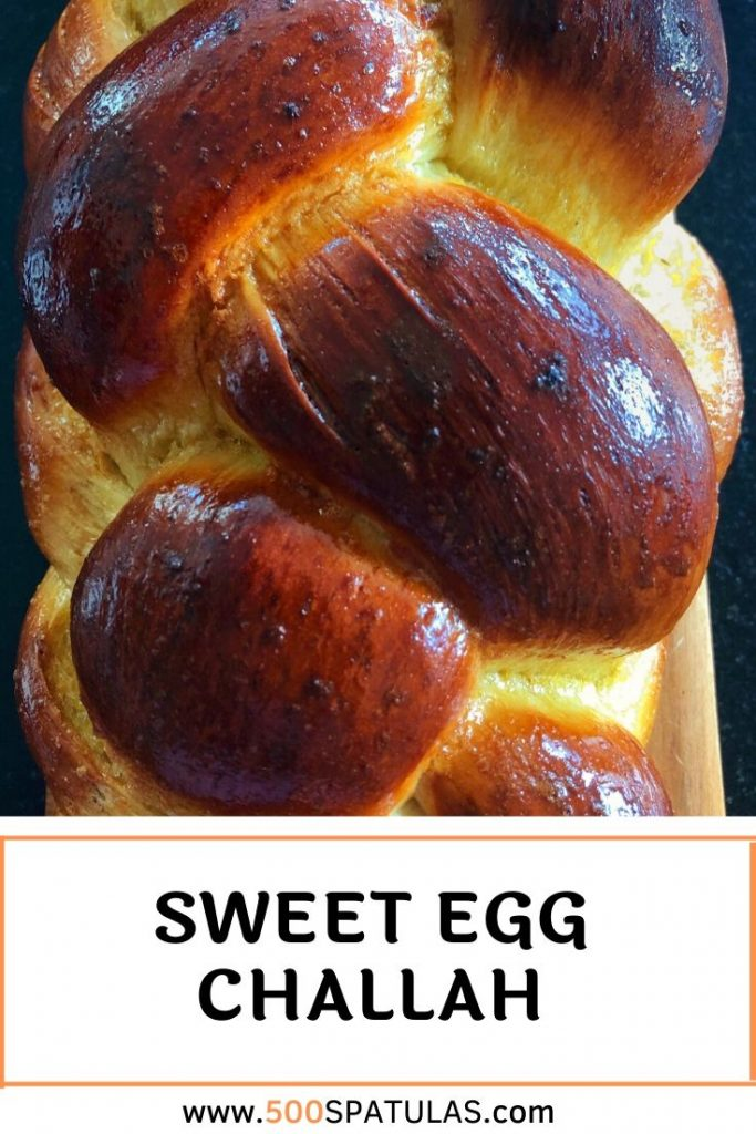 This Sweet Egg Challah recipe includes a delightfully fluffy dough, coated in a ridiculously delicious glaze. There's epic french toast in your future! #500spatulas #challah #yeasted