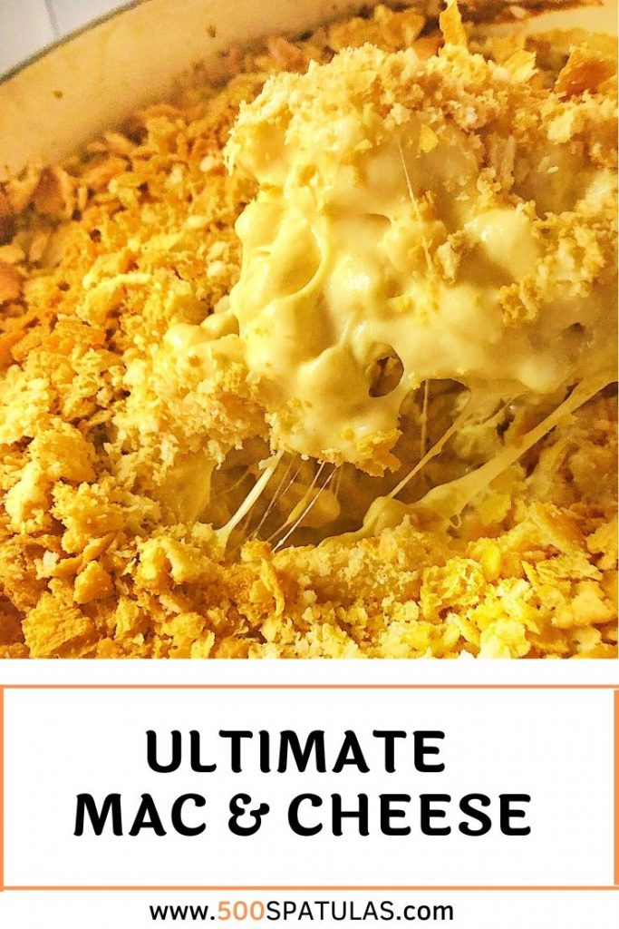 Presenting the greatest comfort food to ever grace your dinner table: The Ultimate Mac & Cheese! Complete with four types of cheeses and topped with crushed Ritz crackers--it's worth every calorie! #500spatulas #comfortfood #cheesy