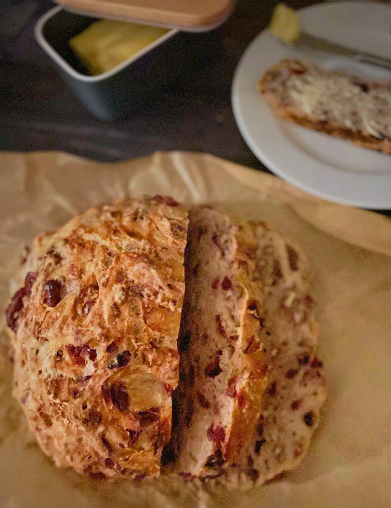 No-Knead Cranberry Pecan Bread
