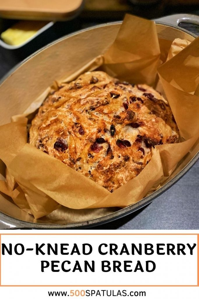 This No-Knead Cranberry Pecan Bread is the perfect Thanksgiving bread, so easy to make, and there's no arm workout required! WINNING! Do yourself a favor and add this to your to-do list #500spatulas #thanksgiving #bread #noknead