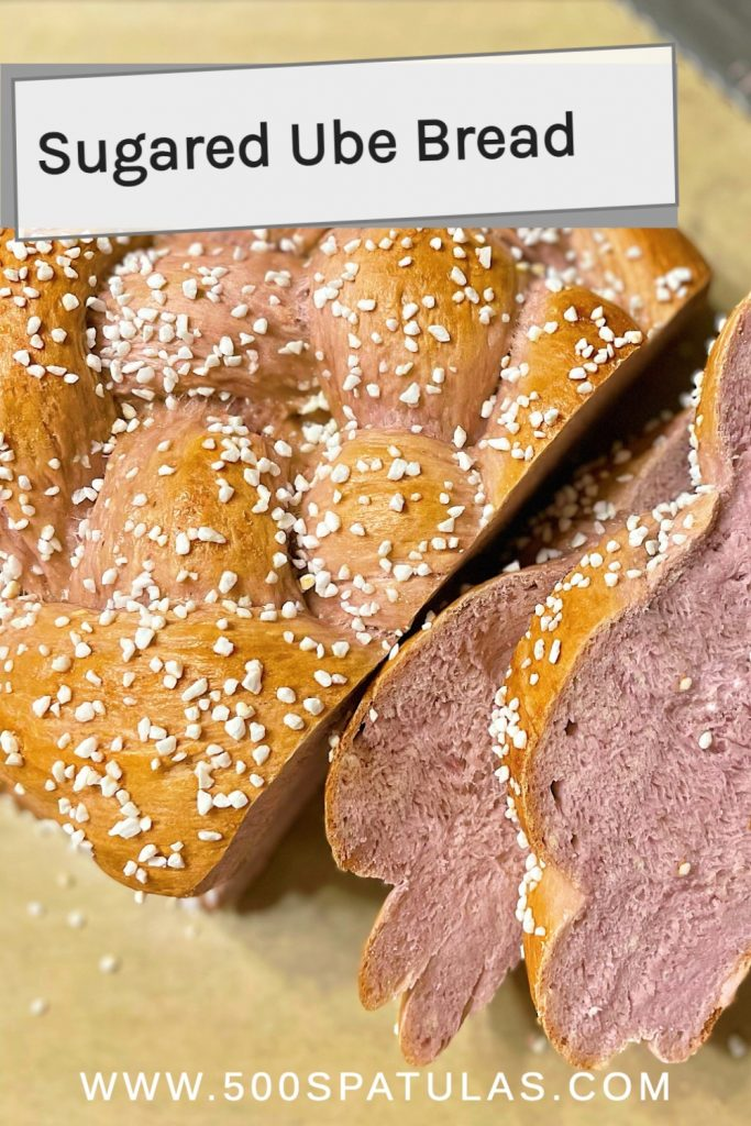 This Sugared Ube Bread recipe is the perfect addition to mix up your baking and add a little color to your bread basket. #500spatulas #ube #breadbaking.